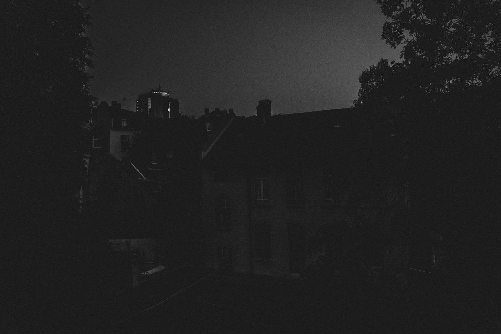 Frankfurter Häuserzeile schwarzweiß